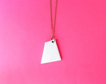 Trapezoid geometric necklace.             Polymer clay white minimalist necklace.          Minimal modern jewelry with a charitable donation