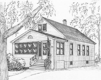 Custom home portrait in ink, Architectural drawing of your house from photo, Pen and Ink sketch of building hand drawn, family history