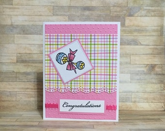 Baby card, congratulations, baby shower, handmade card, greeting card, all occasion card, little girl