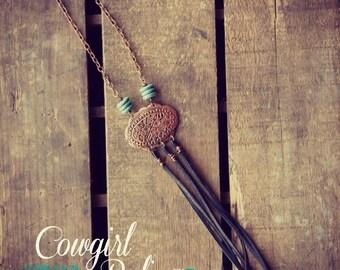 Chama Western Necklace-Fringe Necklace-Boho Gypsy Fringe Necklace Copper Concho Turquoise