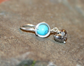 Turquoise Belly Button Ring, Sterling Silver/14k Gold Filled/Belly Button Jewelry, 18 16 gauge Belly Button Hoop, Stone Ring