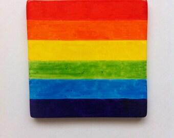 Rainbow Gay Pride drinks coaster