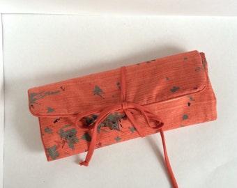 Vintage coral pink makeup or toiletries bag tote