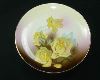 Antique Yellow Rose Plate