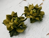 Olive green rose leather earrings