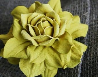 Lemon Yellow Leather Rose Flower Brooch/Hair Clip