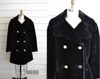 1960s vintage black faux fur super soft women's coat / Medium to Large plush double breasted jacket / plush outerwear with gold buttons