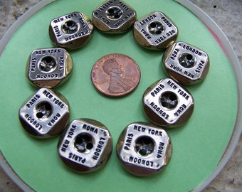 Set of 9 Vintage Lightweight Silver Metal Buttons 3/4""