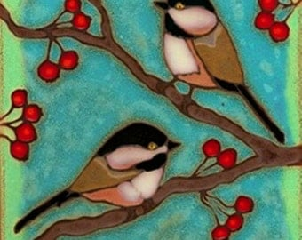 Chickadees, bird, Audubon, wall decor, hot plate, kitchen backsplash, bathroom mural, mosaic, hand crafted original made in USA