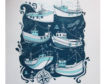 Fishing boats screen print