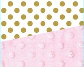 Baby Blanket Cotton Gold Dot Minky backing 19 colors Carseat Blanket Crib Blanket Minky Blanket