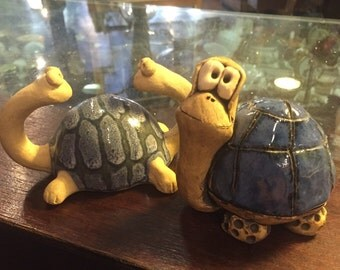 Vintage handmade pottery turtles artist made blue nursery decor turtle animal free shipping  sale