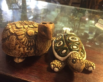 Pair vintage pottery turtles artist handmade nursery child's room turtle animal free shipping sale