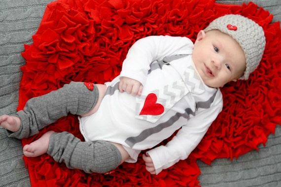 Valentine's Boy Tie and Suspenders Bodysuit with Heart Applique, Red Heart Leg Warmers, Newsboy Hat Chevron Tie Gray Suspenders 1st Birthday