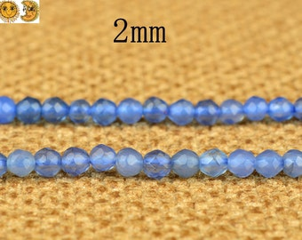15 inch strand of Blue Agate faceted round beads 2mm