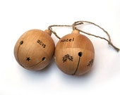 SALE - Personalized Christmas Ornament - Wooden Bell - Baby's First Christmas - Wood Jingle Bell