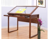 Glass Top Wooden Drafting Table Arts Crafts Drawing Desk Adjustable Supplies Storage Organizer Drawer Holder Wood Metal Tabletop See Through