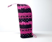 Fuchsia lace black heart Stand up zippered marker pen pencil pouch bag case
