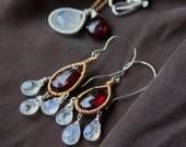 Moonstone and Garnet Dangle Earrings - Burgundy and Gold Chandelier Earrings-Marsala