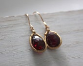 Gold Garnet Earrings - Handmade Wire Wrapped 14K Gold Fill Garnet Dangle Earrings - Berry Red Gemstone - January Birthstone