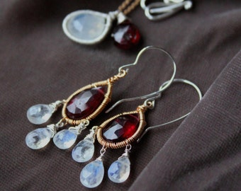 Moonstone and Garnet Gold Dangle Earrings - Red Gemstone Chandelier Earrings- Birthstone Jewelry- Bohemian Jewelry- Marsala