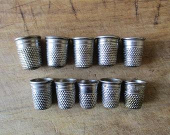 10 vintage thimbles, Retro thimble, 1960-1980, Dés à coudre, France, Embroidery, Needlecraft supplies