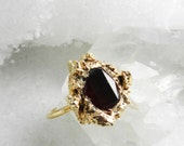 garnet ring, druzy ring, druzy gold, gold ring, stackable ring, stacking ring, skinny band, january birthstone, gemstone ring