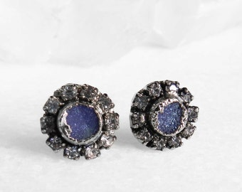 druzy earrings, druzy studs, druzy stud earrings, silver earrings, silver studs, sterling silver, crystal earrings, crystal studs