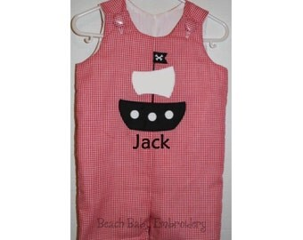 Gingham Pirate Ship Monogrammed Jon Jon Shortall, Longall, or Baby Bubble Romper, Many Colors, Many Sizes, Made-to-Order Custom Boys Outfit