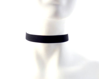 "5/8"" Black Velvet Choker Necklace Simple Plain Basic - Soft, Sexy & Elegant - Custom Made Option"