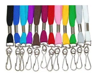 Cotton Lanyard w/ Swivel Hook for ID / Badge / Holder (Various Colors Available)