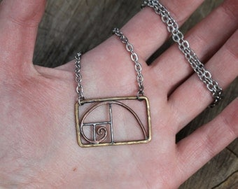 Tri-Metal Fibonacci Spiral Necklace