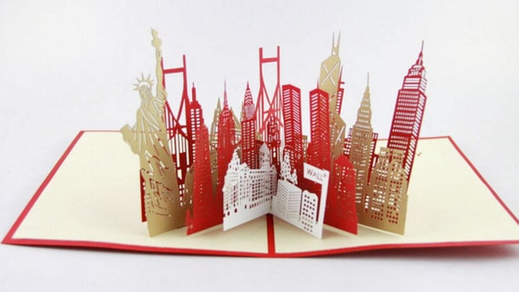 New York City skyline in Pop up card greeting card  3d gift card gift for travelers