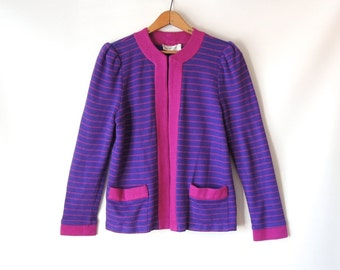 80s Striped Cardigan Sweater / Bright Purple & Pink Sweater Jacket / Open Front Cardigan with Pockets / Puffy Shoulders / Brenner / Medium