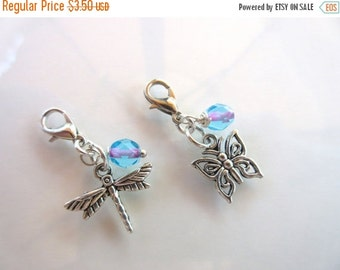 20% OFF SALE Clip-On Charm Tibetan Silver with glass bead dangle, silver lobster clasp--butterfly or dragonfly zipper pull, charm bracelets,