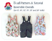 INSTANT DOWNLOAD Reversible Overalls PDF pattern 8, 10, 12, 15, 18 and 20 Inch Dolls
