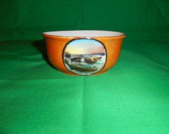 """One (1), 4 1/2"""" Diameter, Orange Lustreware, Souvenir Bowl, from Bridge and Reversing Falls, Saint Johns. N.B., Canada"""