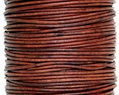 Round Leather Cord 2 mm Diameter Natural Red Brown Color (Length: 5 Yards)