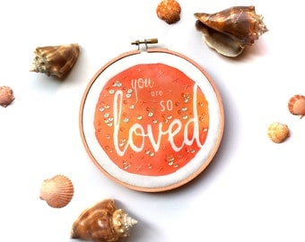 Beach Nursery Decor You Are SO Loved Baby Girl Art, Princess Nursery Embroidery Hoop Art, Peach Wall Art, Expectant Mother Pregnancy Gift