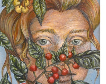 self portrait with leaves-egg tempera on paper, matted and unframed wall art