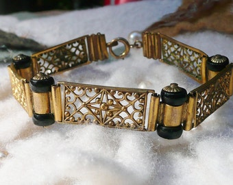 Art Deco Bracelet 1920 1930's Czech Black Filigree Panel