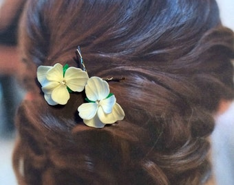 Decorative Hair Pins Jewelry Decorative Woodland Campangne Ivory Pansy Hairpins Bobby Pins, West Germany Ges Gesch