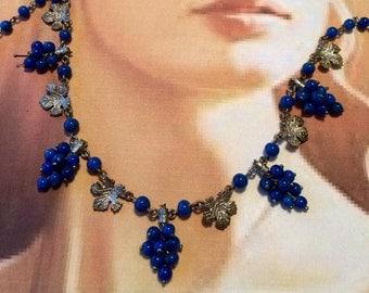Vintage Grape Czech Necklace Art Deco Lapis Blue Napa Vineyard Wedding