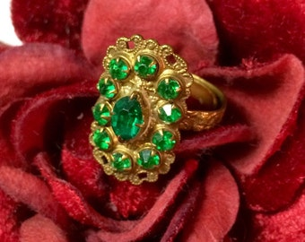 Deco Czech Ring 1930's Emerald Green Czechoslovakia Cocktail St Patrick's Day
