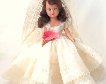ON SALE Beautiful Vintage Small Bride Doll, Storybook Dolls USA, Hard Plastic, Sleep Eyes, Dark Brown Hair, Collectible Doll