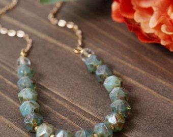 Turquoise green gemstone layering necklace