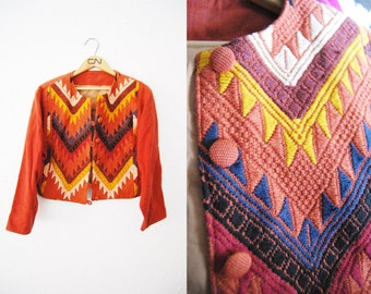 Vintage Maroon Red Chevron Print Coat Jacket Colorful Print Weaved / Tribal / Aztec / Womens Clothing