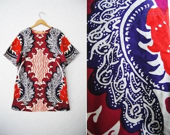 Vintage OOAK 70s Batik Print Shift Dress Mini / Boho Bohemian Hippie / Bold / Bright / Colorful / Aztec Tribal / Summer / Womens Clothing
