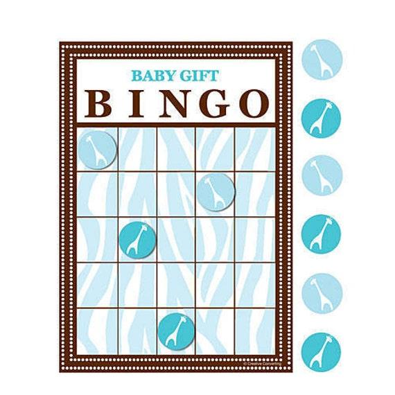 Baby Gift Bingo : Safari themed baby shower bingo game gift