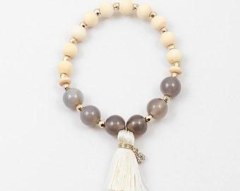 Tassel Bracelet, Boho Bracelet, Stackable Bracelet, Charm Bracelet, Stretch Bracelet, Yoga Bracelet, beaded yoga bracelet
